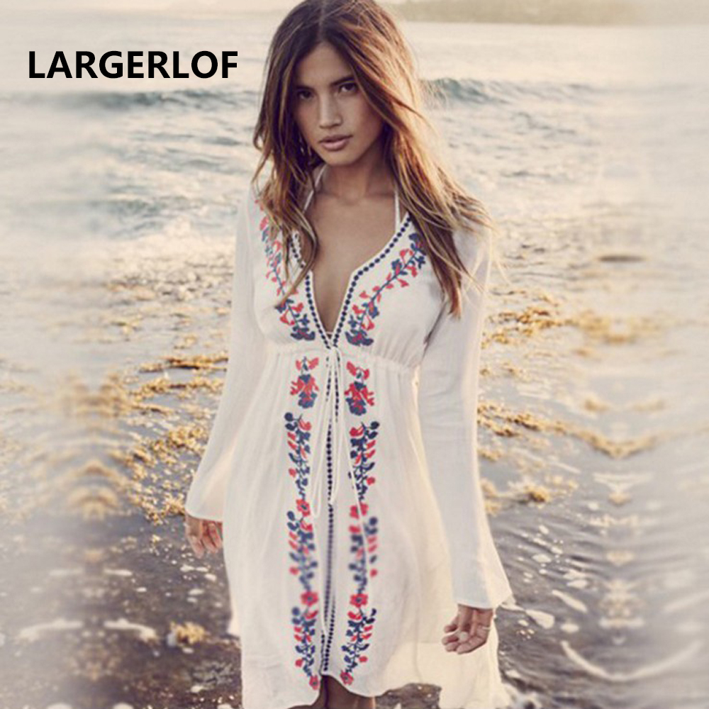 Saida De Beach Cover Up Swimwear Ladies Summer Beach Dress Embroidered White Swimming Suit For Women Bath Dress BK27128