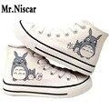 Sr. niscar pintado de dibujos animados totoro diseño hombres zapatos del top del alto de los hombres respirables de lona ocasionales con cordones planos zapatos anime cat graffiti