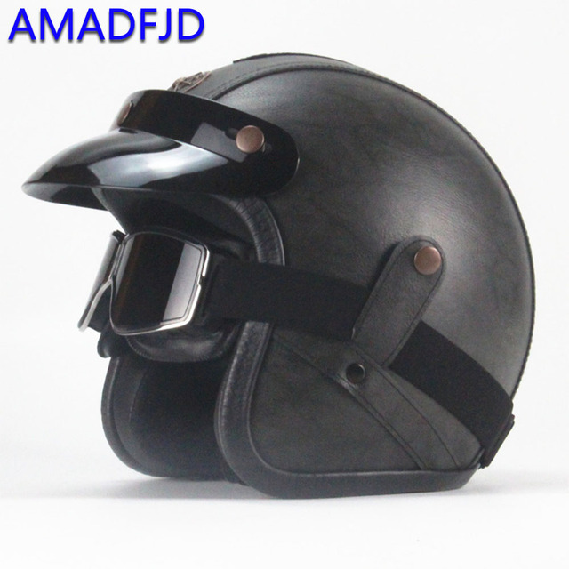 Anti-Collision leather motorcycle helmet Head protection Classic retro style resistant safety moto Windshield helmets for harley