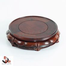 Red rosewood carving handicraft annatto circular base of real wood of Buddha stone are recommended vase furnishing articles