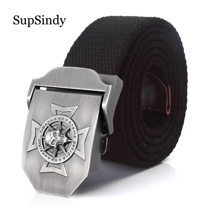 SupSindy men's Canvas belt Skull Cross metal buckle military belt Army tactical tactical
