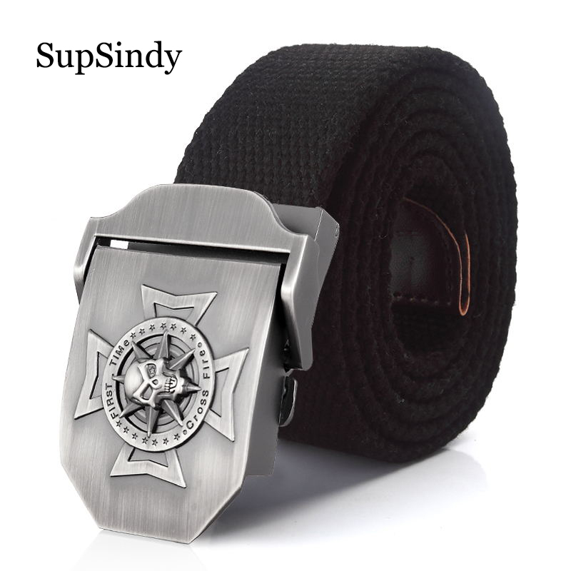 SupSindy men's Canvas   belt   Skull Cross metal buckle military   belt   Army tactical   belts   for men top quality male strap Army green