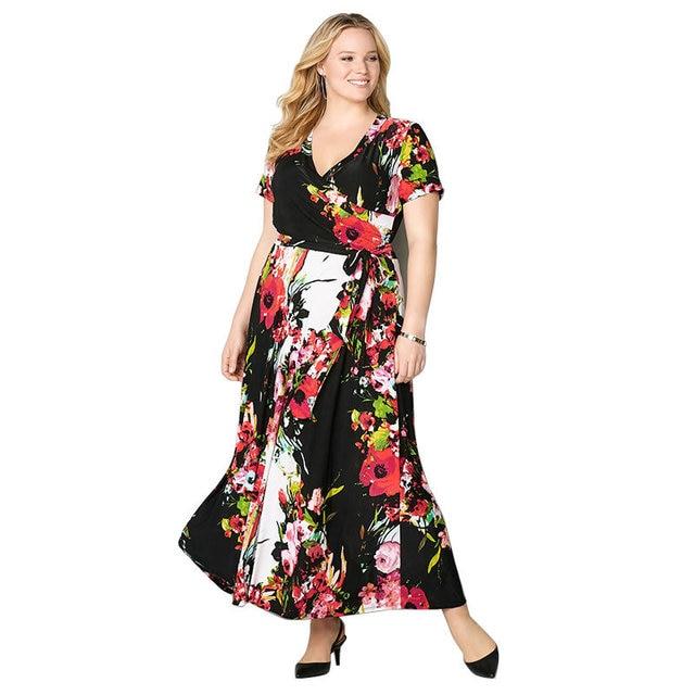 d4f870ddb24 US $27.03  Aliexpress.com : Buy 2018 Plus Size L 6XL Fat MM Women Fashion  Office Uniforms Ladies Short Casual Printing Party V Neck Dress 3 Colours  ...