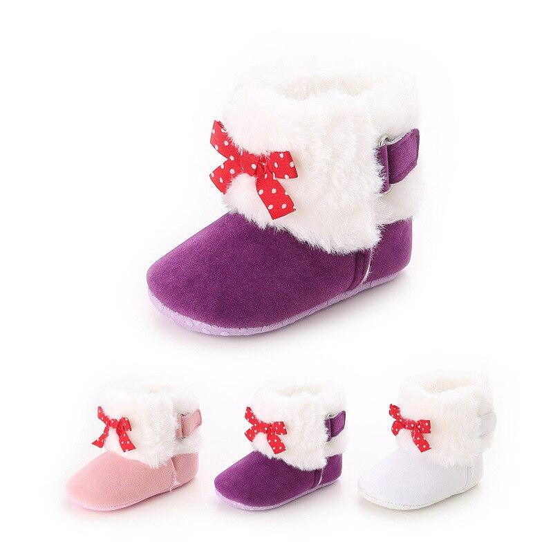 Winter Soft Bottom Female Baby Shoes Plus Velvet Warm Snow Boots Infant Toddler Shoes Non-slip Shoes Warm Shoes WMC905LL