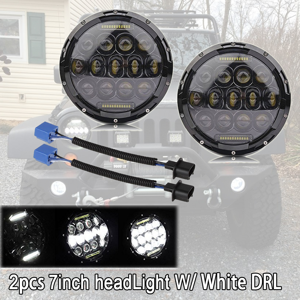 2x 7 inch 75W H4 Headlight High Low Beam with DRL White /Pink/ Blue/Green /Amber /Red Color LED Lamp for Jeep Wrangler JK TJ LJ