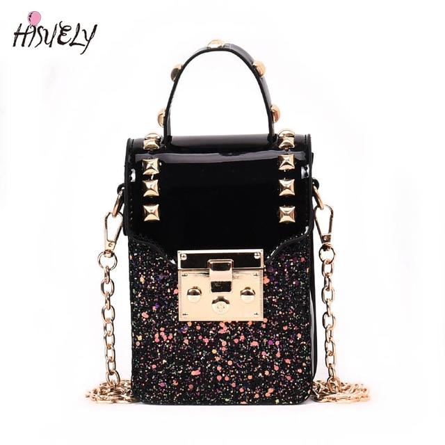 dcf16b773617 Sequins leather Women Shoulder Bag Rivet Designer Handbags Gold Luck Small  Crossbody Bags Vintage Messenger Bag