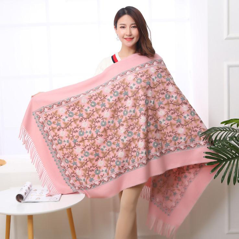 New Vintage Women Floral Embroidery Scarf Wrap Chinese Ethical Style Thickening Retro Flower Edging Scarf Shawl Warm And Soft