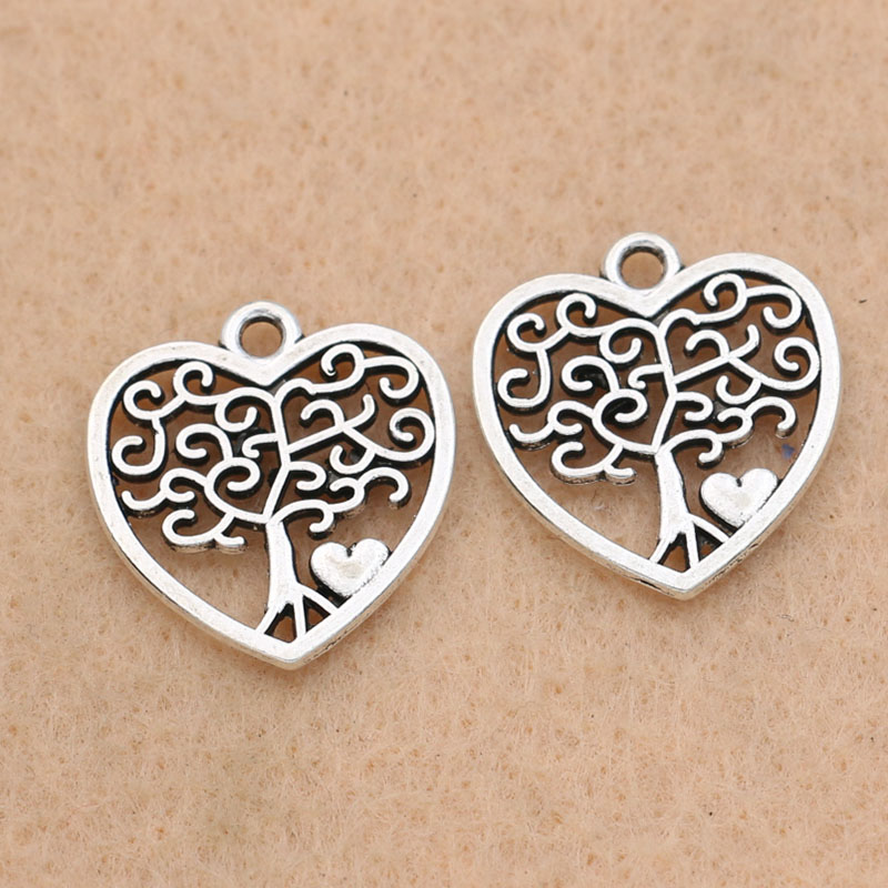 Life Tree Tibetan Silver Bead Charms Pendentifs Fit Bracelet 10pcs 15x12mm
