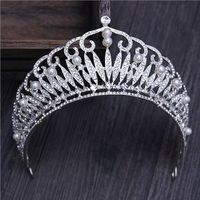 Royal Rhinestone Tiaras and Crowns Pearl Bridal Jewelry Wedding Hair Decorations, Silver