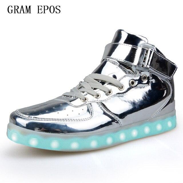 huge discount 7986e 78a70 US $41.0 |GRAMM EPOS Neue Hohe qualität LED Leuchtende Männer High Top LED  schuhe Für Erwachsene USB Lade Schuhe Für Party Männer Military stiefel in  ...