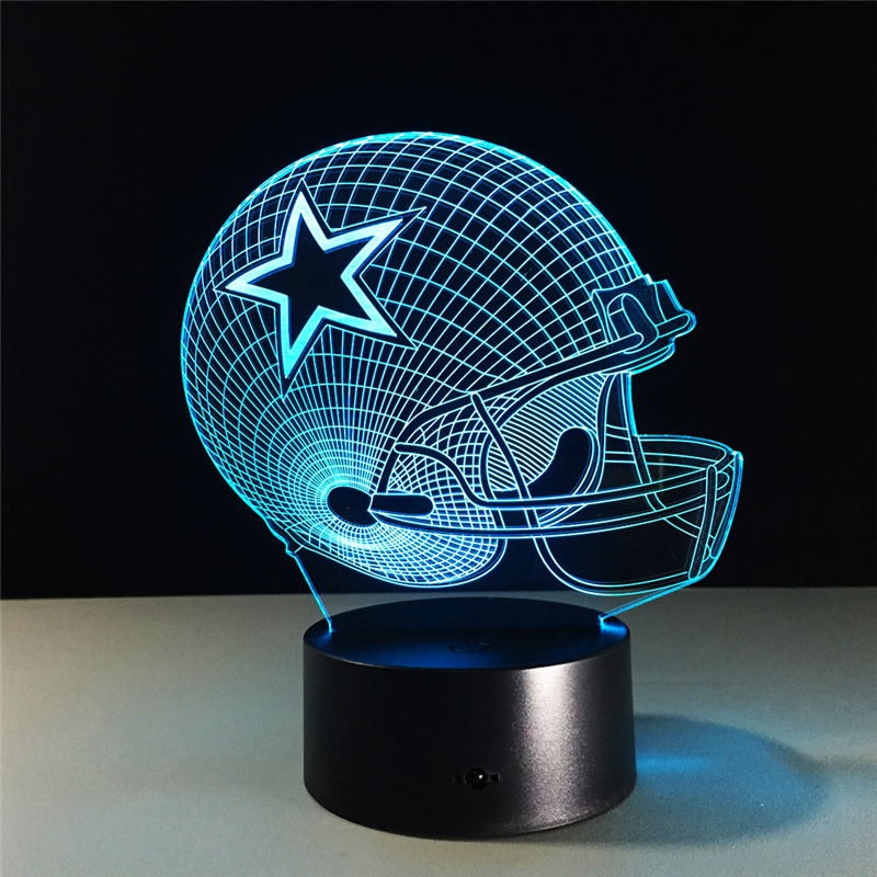 Dallas Cowboys Helmet lamparas 3d led lamp 7 Colors Change acrylic USB LED Table Lamp Kids Gift Creative Night Lamp Home Decor study of new acrylic lamp nightlight deadpool creative gift crystal lamp usb led table desk lampara as home decor