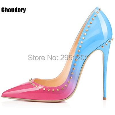Hot Sale multi colored heels Shoes Pointed Toe gradient color Women Pumps Rivet Studded Wedding Party Dress Stiletto Heel Woman onlymaker ladies women s high heel closed toe pumps rivet studded sandals handmade for wedding party dress stiletto shoes