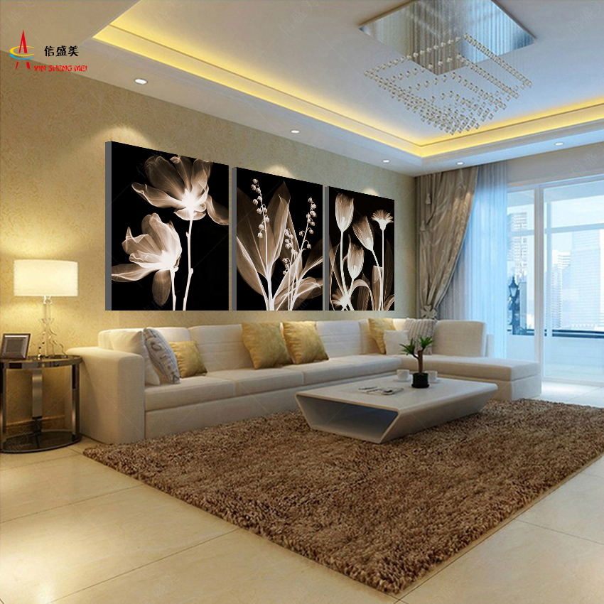 Modern 3 panel canvas abstract oil painting modular - Contemporary wall art for living room ...
