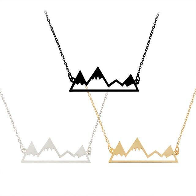 Vamos ir em uma aventura! Topo da Montanha de neve Pico Pingente de Colar de Ouro Prata Preto Minimalista colar Jóia Da Forma Simples