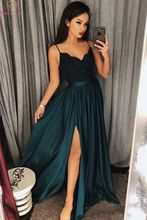 Hunter Green Evening Dresses 2019 Robe De Soiree Elegant Floor Length Sexy Lace Spaghetti Strap Split V Neck Formal Prom Gowns стоимость