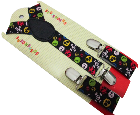 Free Shipping 2018 New 1 Inch Wide Children Clip On Black Colorful Small Skull Braces for Boys Girls