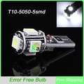 T10 W5W Canbus 5050 SMD 5 LED Car Side Wedge Dome Light, 12V 912 921 Car Clearance Lamp 168 194 161 Auto Car Side Wedge Bulb