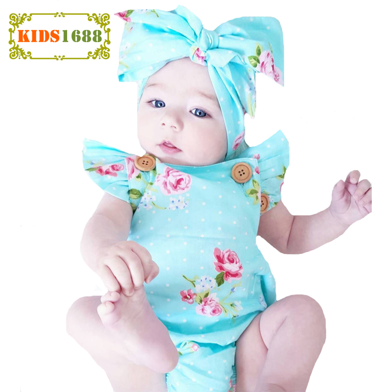 Baby Girl Romper Headband Floral Polka Dot Newborn Girls Jumpsuit+Headband Summer 2017 Fashion Flower Kids Baby Clothes Outfits