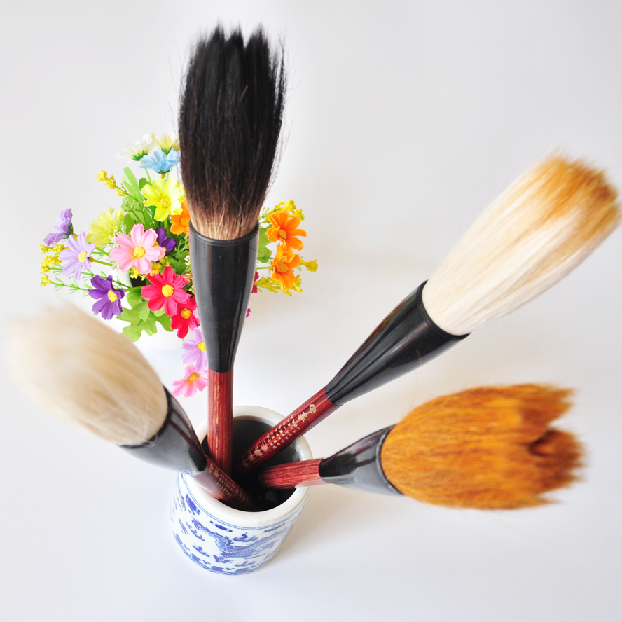 4 pcs/pack Chinese Pianiting Brush Pen Hopper-shaped Paint Brush Art Stationary Oil Painting Brush Calligraphy Gift pen curtain