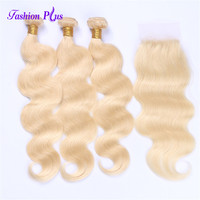 Full And Thick Long Brazilian 613 Blonde Body Wave Bundles With Closure 100% Remy Human Hair Bundles Lace Closure With Baby Hair