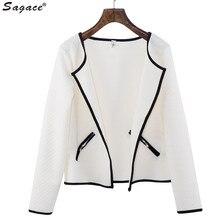 Modern Women Long Sleeve Lattice Jacquard Tartan Short Cardigan Girls Fashion Top Slim Coat 2017 Autumn