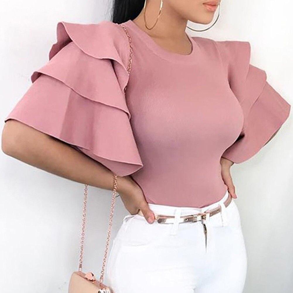 2018 Frauen Kurzarm Bluse Schößchen Sommer Tops Damen Lange Büro Shirts Plus Größe Rüschen Bluse Femme