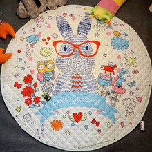 Купить с кэшбэком 150CM Baby Play Mat Kids Crawling Mat Children Carpet Rugs Baby Toys Mat Kids Toys Sundries Pouch Round Storage Bag