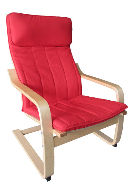 poang chairs diy armchair covers happilar chair bentwood with cushion natural frame and red cover