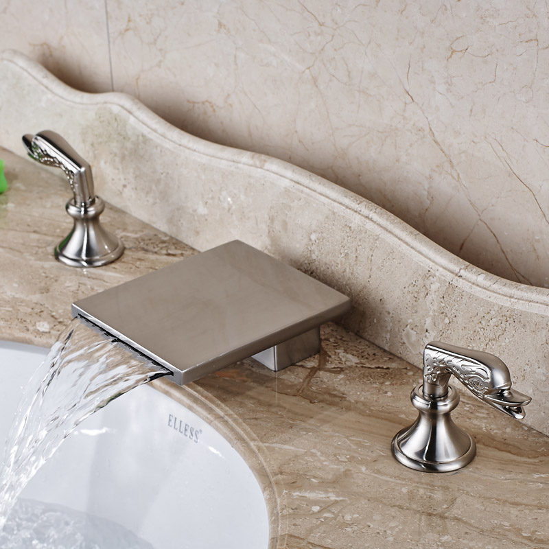 Deck Mounted Waterfall Bathroom Faucet Tap Dual Handles Brushed Nickel Bath Spout Mixer Faucet