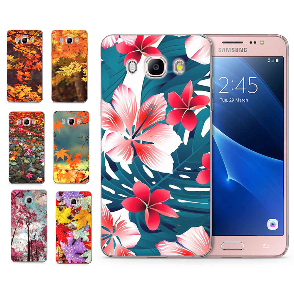 For <font><b>Samsung</b></font> Galaxy A3 A5 2016 2015 2017 prime J1 J2 J3 J5 J7 S8/plus Note 8 TPU Silicon Leaves Flower Pattern Cover Case <font><b>C100</b></font> image