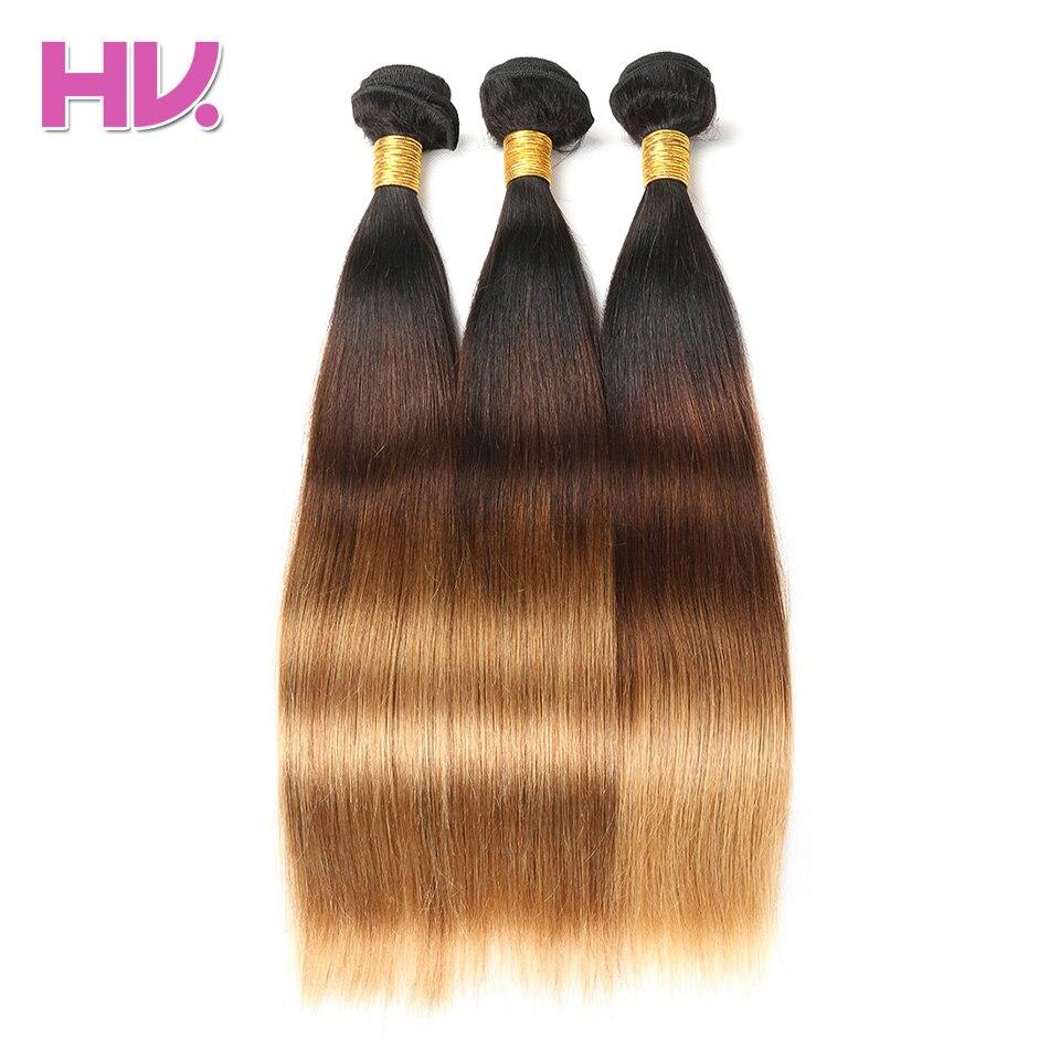 Hair Villa Ombre Brasilian Straight Hair With Closure # 1b / 4/27 4 * - Mänskligt hår (svart) - Foto 5