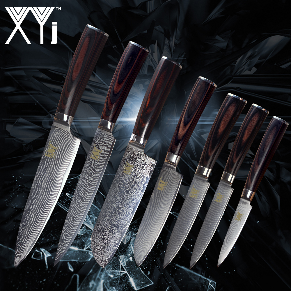 XYj Kitchen Cooking Knife Damascus Knives VG10 Core 7 Pcs Sets Japanese Damascus Steel Kitchen Cooking