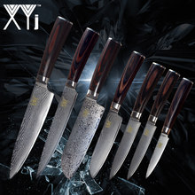 XYj Kitchen Cooking Knife Damascus Knives VG10 Core 7 Pcs Sets Japanese Damascus Steel Kitchen Cooking Tools New Arrival 2018(China)