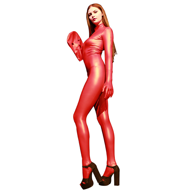 Sexy Lingerie one piece Bodysuit Faux Leather Seamless Jumpsuit Women Latex Catsuit Wetlook Tights Bodysuit Female