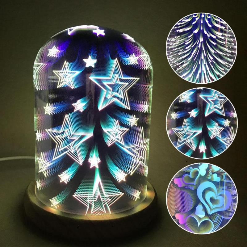 3D Illusion Night Light Oval Shaped LED Table Lamp 3D Fireworks Starburst Love Heart Decorative Lamp USB Novelty Light Z3 3d visual bulb optical illusion colorful led table lamp touch romantic holiday night light love heart wedding gifts