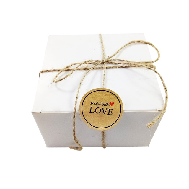 100pcs/lot Round Kraft paper Sealing label stickers Made with LOVE For Gift box Envelop DIY Handmade Baking Cookies Wholesale