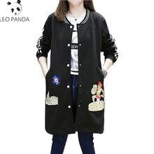 5d87d1f2a Nueva moda más tamaño mujeres abrigo de invierno dibujos animados Príncipe  Bordado rayas manga larga cremallera Mujer ropa de al.