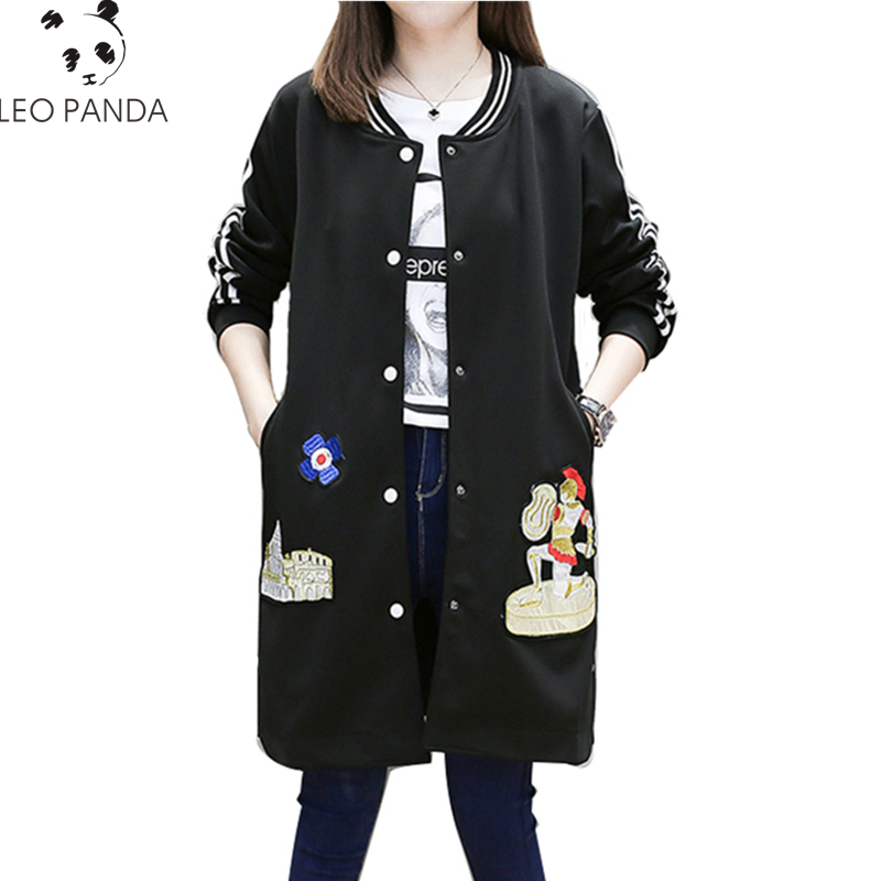 New Fashion Plus Size Women Coat Winter Cartoon Prince Embroidery Striped Long Sleeve Zipper Female Cotton padded clothes CY45