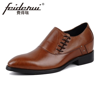 British Designer Heigh Increasing Genuine Leather Men's Handmade Oxfords Round Toe Lace-up Man Formal Dress Wedding Shoes YMX51