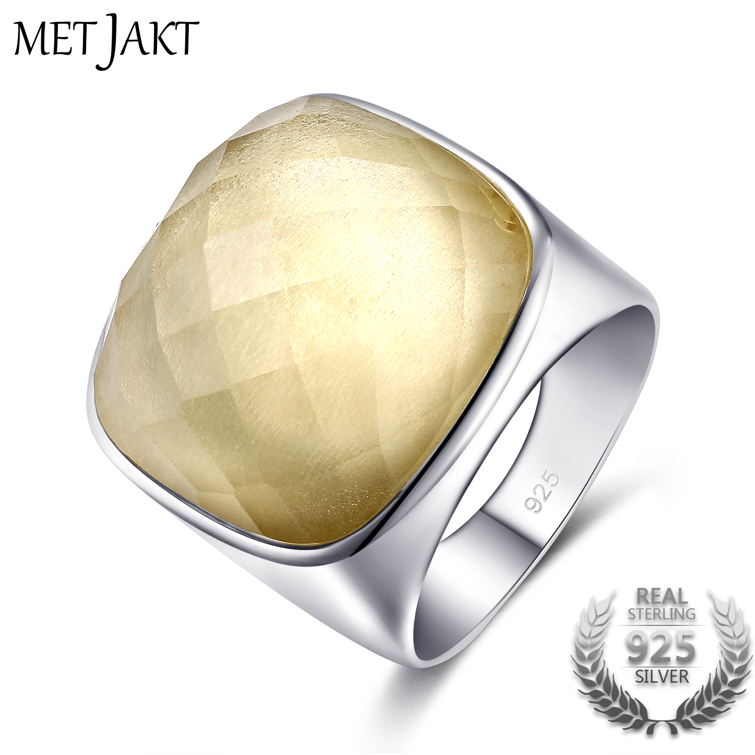 MetJakt Genuine Natural Square 21.42ct Citrine Rings Solid 925 Sterling Silver for Women Fine Jewelry