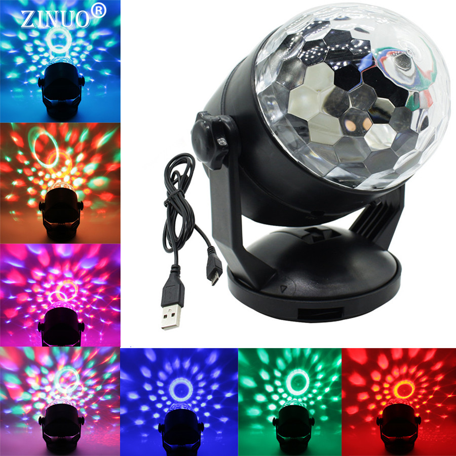 ZINUO Stage Lighting Voice Control Effect RGB LED Stage Lamps Battery Crystal Magic Ball Laser Projector Disco DJ Party Light