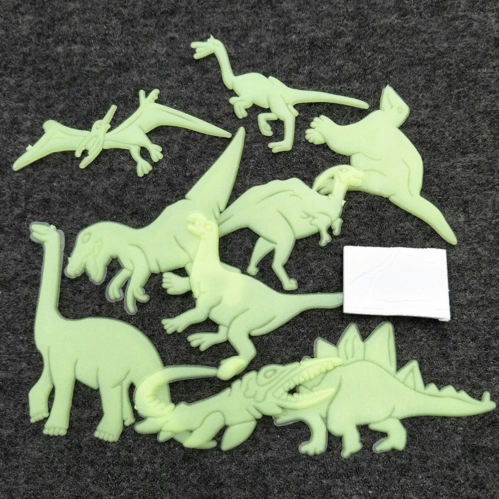 LoveCCD 9pcs/bag Glow in the Dark Toys Luminous Dinosaur Sticker Bedroom Fluorescent Painting Toy PVC Stickers for Kids Room J10