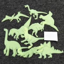 купить LoveCCD 9pcs/bag Glow in the Dark Toys Luminous Dinosaur Sticker Bedroom Fluorescent Painting Toy PVC Stickers for Kids Room J10 дешево
