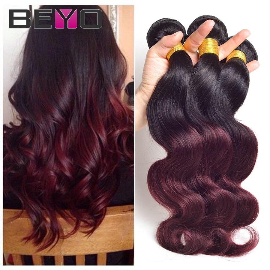 Ombre Brazilian Hair 4 Bundles Brazilian Body Wave 1B/Burgundy 99j Brazilian Virgin Hair Ombre Hair Extensions Ombre Human Hair