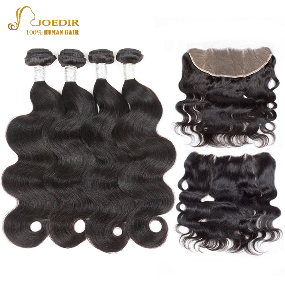 Joedir Hair Non Remy Brazilian Body Wave Hair With Lace Frontal Closure Human Hair Weave 2 3 4 Bundles With Baby Hair Closure