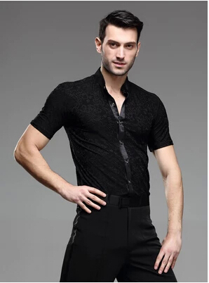 Picture of Summer Male Latin Dance Samba Paso Doble Square Dance Shirt Top Performance Wear Adult Male Short-Sleeve Shirt Competition Wear