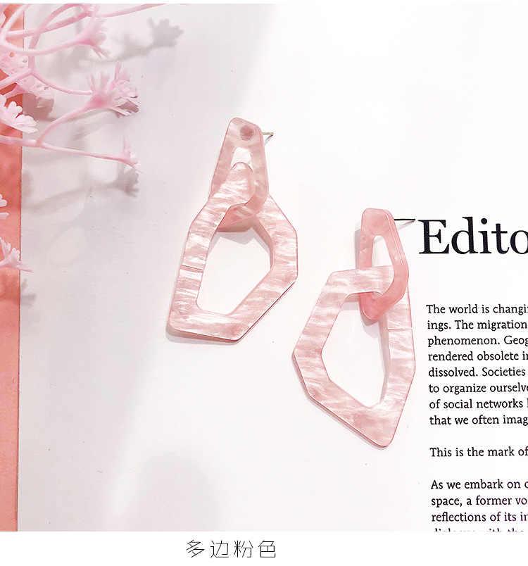 HUANZHI 2019 أزياء جديد خلات حمض اللؤلؤ زهرة هندسية مستطيل مضلع رابط سلسلة الاكريليك الأقراط الطويلة للنساء فتاة