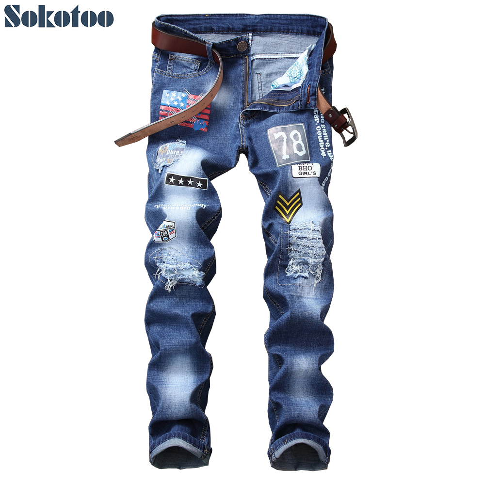Sokotoo Men's American Flag Patches Design Blue Denim Jeans Holes Ripped Distressed Slim Straight Pants