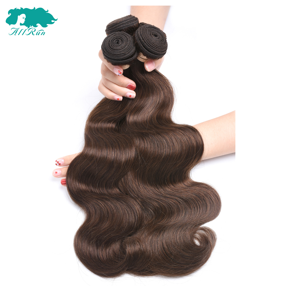 Friendly Peruvian Body Wave 4# Light Brown 4 Bundles/lot Free Shipping Human Hair Extensions 8-24 Non-remy Hair Weave Allrun Hair Hair Extensions & Wigs