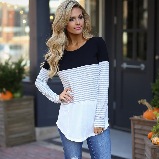 Patchwork Long Sleeve Casual Striped Shirt Blouse